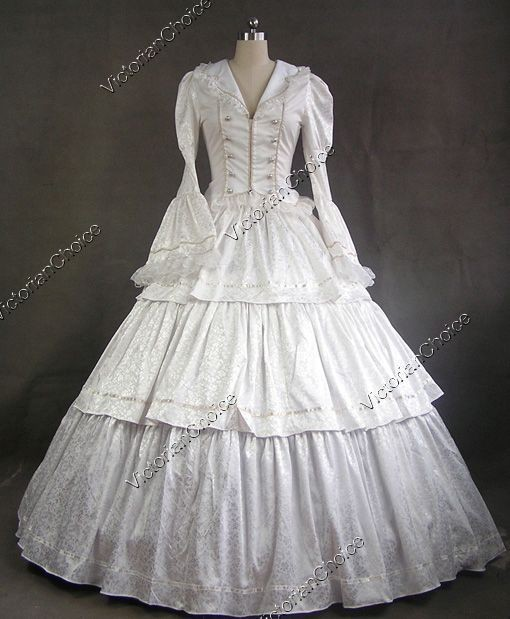 Freeshipping Custom Made civil War Victorian Brocade Period Dress Prom Theatre Costume