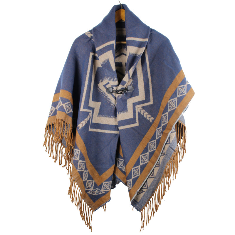 winter shawl poncho women cashmere feminino inverno shawl geometric turn down collar cloak woven jacquard capes stole 480g in Women 39 s Scarves from Apparel Accessories