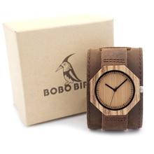 BOBO BIRD D02 Zebra Wooden Quartz Men's Watch Octagon Design Soft Leather Strap Men Women Luxury Bamboo Dial for Unisex