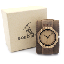 BOBO BIRD D02 Zebra Wooden Quartz Men's Watch Octagon Design Soft Leather Strap Men Women Luxury Bamboo Dial for Unisex
