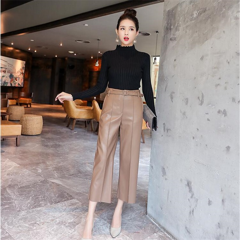Women PU Leather   Pants   Autumn High waist   Wide     leg     pants   Loose Ankle-Length   Pants   Straight   Pants   Slim Faux Leather Trouser Female