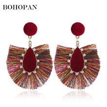 Bohemia Cotton Tassel Drop Earrings For Women Fashion Crystal Handmade Big Fringe Dangle vintage Earring Jewelry Party brincos