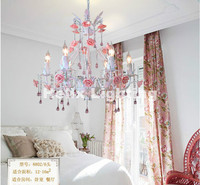 White European Chandelier lamp Lustre Light 6L/8L/12L/18L Pink Rose Flower Chandelier Light Fixture E14 Decoration Chandelier