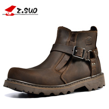 Z. Suo Brand 337 Classic Style Men's Work Boots Fashion Buckle Elastic Welt Ankle Boots 100% Crazy Horse Leather Tooling Boots