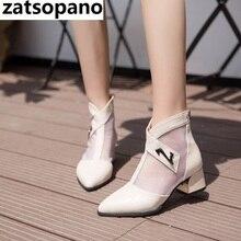 Gladiator Sandals Medium Heels Back Zip Sandal Boot Sandalia feminina Black Ladies Shoes Dress Shoes Woman zapatos mujer цена