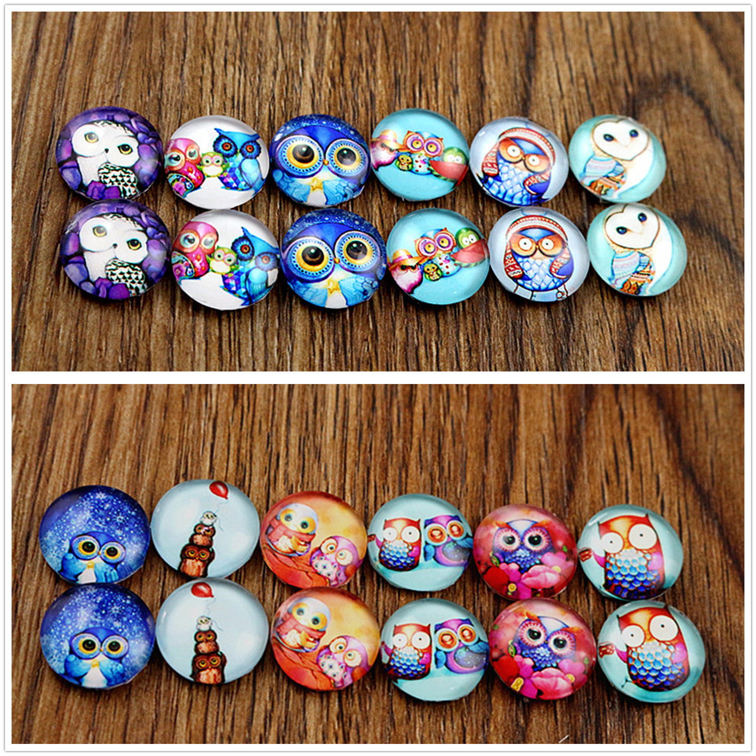 12pcs/lot (One Set) Two Style 12mm Owl Handmade Glass Cabochons Pattern Domed Jewelry Accessories Supplies