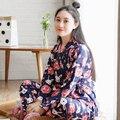 Primavera e no Outono das Mulheres coelho cereja quimono calças cardigan serviço de casa de pijama de malha de algodão longo-sleeved ternos