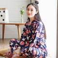 Spring and Autumn Women 's cherry rabbit kimono pajamas knitted cotton long - sleeved trousers cardigan home service suits