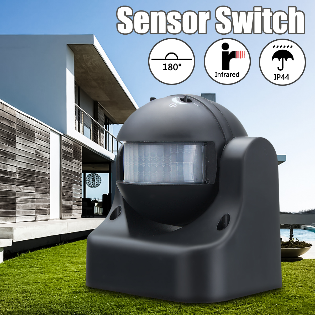 180 degree Auto PIR Motion Sensor Detector Switch Home Garden Outdoor Light Lamp Switch Black Hot Sale180 degree Auto PIR Motion Sensor Detector Switch Home Garden Outdoor Light Lamp Switch Black Hot Sale