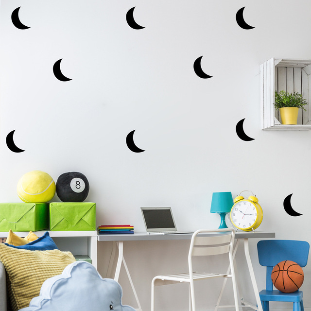 nordic style moon wall sticker home decor baby nursery bedroom wall