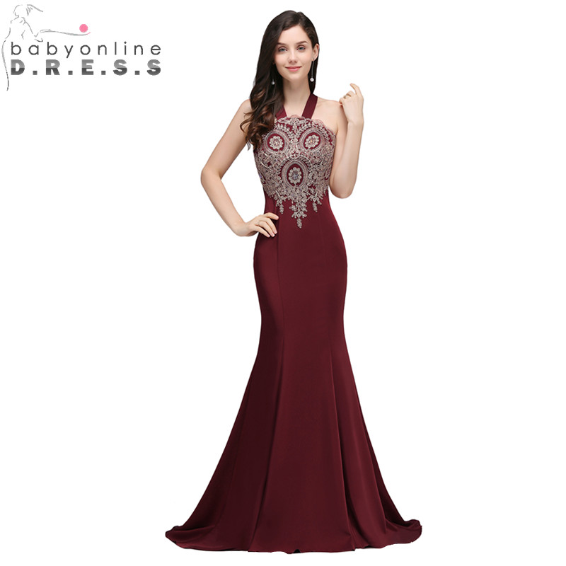 Babyonlinedress Sexy Backless Lace Mermaid Burgundy   Prom     Dresses   Long Charming Evening Party   Dresses   Vestido de Festa Longo