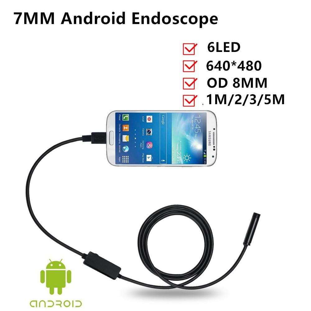 7 мм USB эндоскопа 1 м/2 м/5 м 6 светодиодных OTG Android инспекции видео фото захвата Камера для Moblie телефонов ноутбук