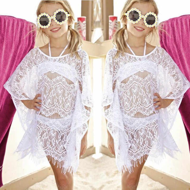 3PCS סטים לפעוטות ילדים בייבי בנות בגדי סט וחוף תחרה כיסוי קופצים שמלה + ביקיני סט ילדים בגדי ים בנות בגד ים