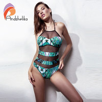 Andzhelika Women Sexy Mesh Swimwear One Piece Swimsuit Vintage Print Bodysuit Bathing Suit Monokini Beach Swimming