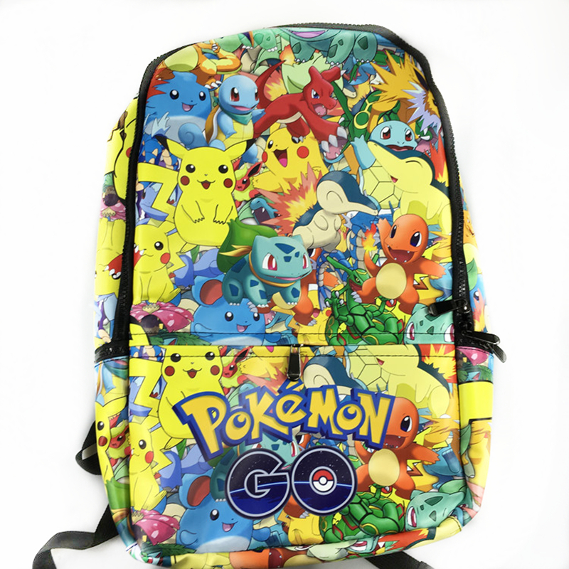 New Fashion Game Pokemon Backpack Anime Pocket Monster School Bags For Teenagers Gengar School Bag PU Leather  Backpacks Rugzak pokemon go print purse anime cartoon pikachu wallet pocket monster johnny turtle ibrahimovic zero pen pencil bag leather wallets