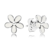 где купить Authentic 925 Sterling Silver Pans Earrings For Women Daisy White Enamel & Silver Stud Earrings Fine Europe Jewelry Lady Gift по лучшей цене