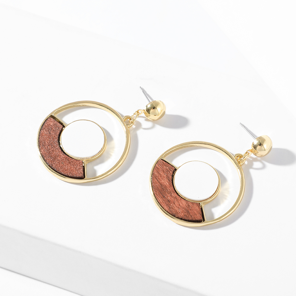 Fashion Women's Hollow Gold Alloy Circle Dangle Earring Vintage Simple Geometry Wooden Brincos Boho Gifts Pendientes Wholesale