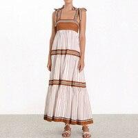 Summer Striped Strapless Maxi Dress 2019 Women Sexy Bows Beach Backless Long Sundress Designer Runway Dress robe longue boheme