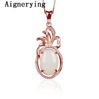 Rose Gold Pure 925 Silver Pendant for Jewelry Making Natural Heitan Jade Stone Original Zircon women party Gift Box Necklace