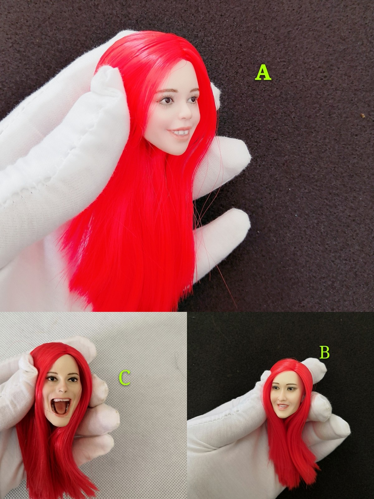 1 6 Womens Head Sculpt with Long Straight Red Hair Happy Face Expression for 12 Bodies