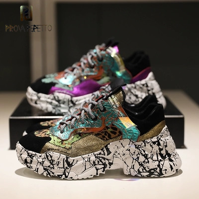 2019 New Arrive High Quality Women Sneakers Shoes Real Leather Platform Spring New Color Matching Camouflage