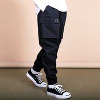 2019 boys pants size for 6 16years solid cargo full pants kids leggings black yellow skyblue cotton 2019 spirng new kids cloth