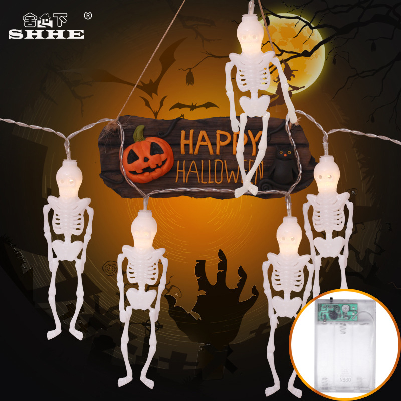 Battery Operated Halloween Skeleton LED String Lights Halloween Holiday Christmas Party Garden Decoration Garland Lignting