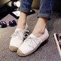 Nova Primavera e Verão 2015 Coreano Sapatos Rasos Confortáveis Sapatos de Lazer Sapato de Renda Branca Remendo Gemale Sapatos Estilo Britânico