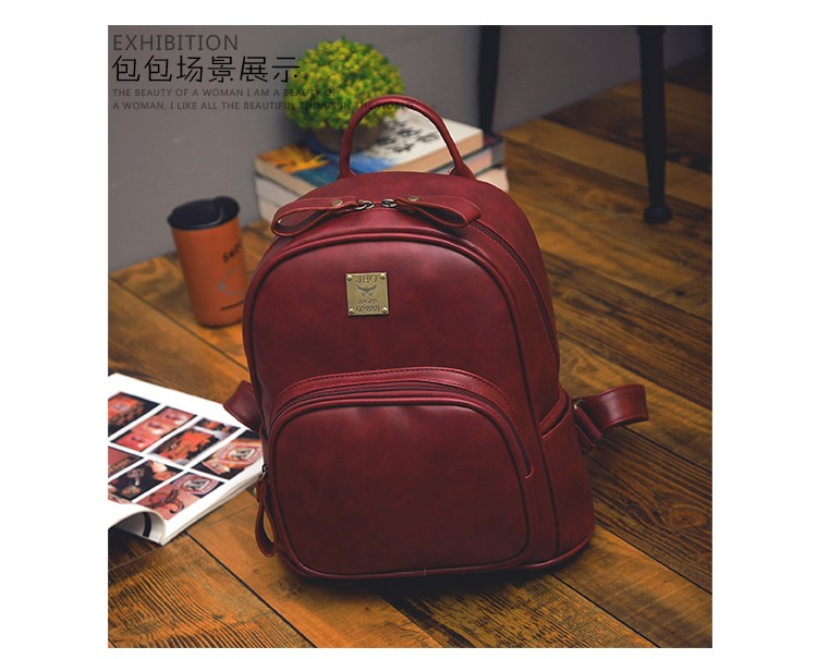 2016 Fashion Vintage Black PU Leather Backpacks For Women Preppy Bookbag New Cheap Designer Backpack Brand Couro Mochilas Mujer (24)