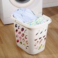 Laundry Basket Washing Clothes Storage Hamper Bin Plastic Clothing Basket Cloth Organizer Dirty Hamper DQ9069 1/ 2