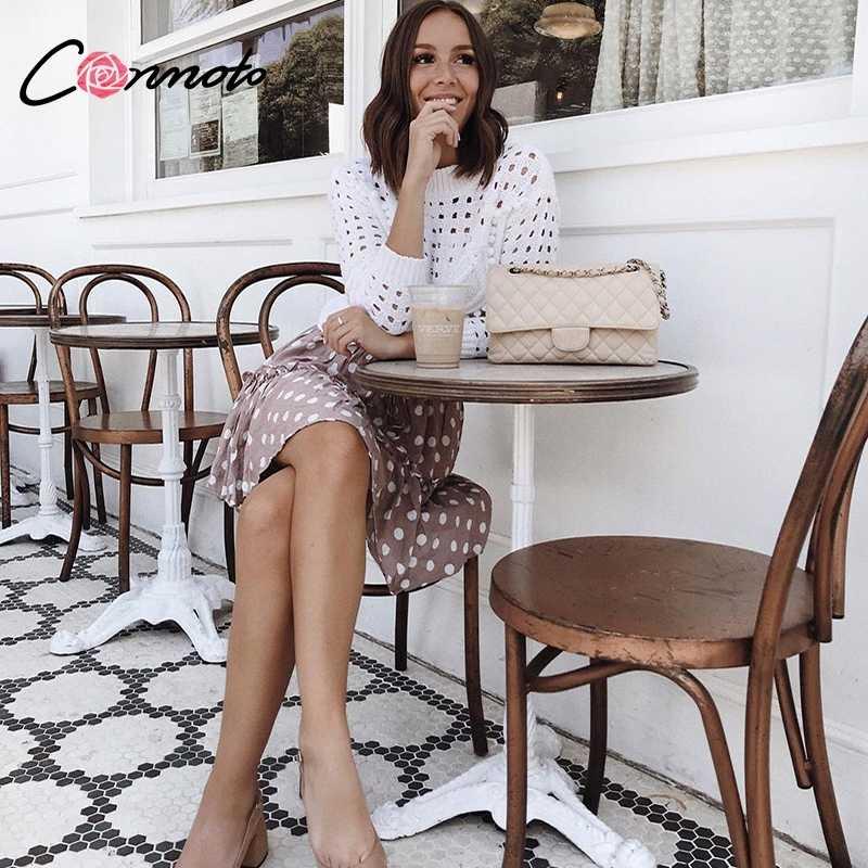 Conmoto Mode Weiß aushöhlen Pullover Frauen 2019 Herbst Winter Beiläufige Dünne Kurze Stricken Tops Weibliche Chic Jumper Pull Femme