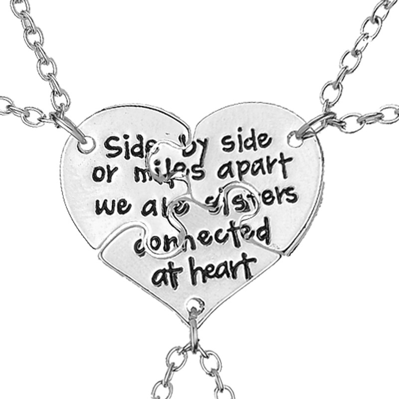 Hot! 3 pcs/set Friendship Jewelry Hand Stamped Apart We Are Sisters Connected At Heart Sister BFF Necklace gift free shipping