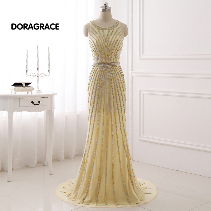 DORAGRACE Real Photos Gorgeous Beaded Tulle Floor-Length Mermaid Prom Gowns Long Evening Dresses DGE059