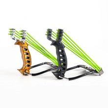 Professional Two rubber band traditional slingshot high strength steel Hunting Catapult Hunter Folding Wrist Sling Shot