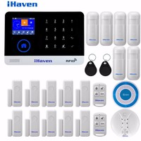 WIFI GSM 3G GPRS English German Switchable RFID Card Wireless Home Security Arm Disarm Alarm System