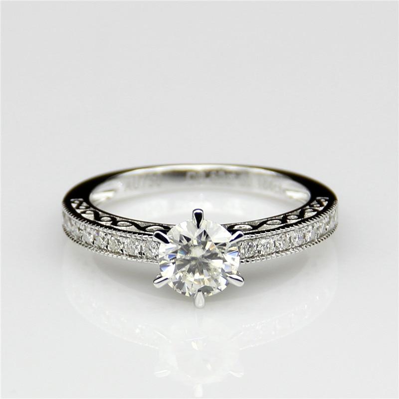 Round 0.8ct Lab Grown Diamond Antique Filigree Style Accent 9k White Gold Engagement Ring Esdomera Moissanites Ring