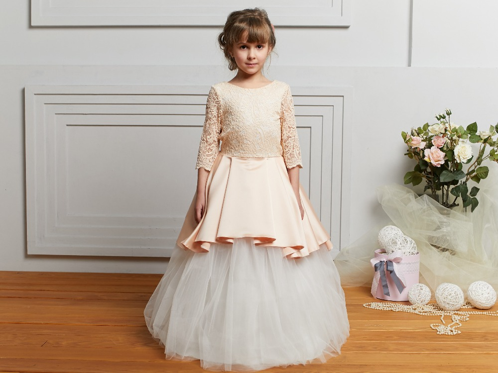Lovely Ball Gown Tulle Half Sleeve   Flower     Girl     Dresses   Bow for Weddings 2018 Little   Girls   First Communion Pageant Gowns 2019