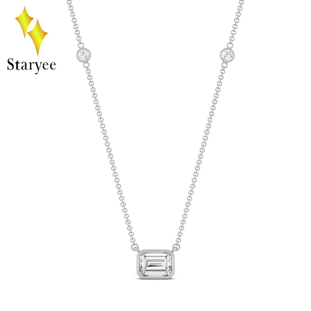 Moissanite Necklace 1.05CTW Emerald Cut Moissanite East-West Solitaire with Side Accents Lab Diamond Necklace 18K White Gold moissanite pendant 18k 750 yellow gold round brilliant lab grown moissanite diamond pendant necklace chain for women jewelry