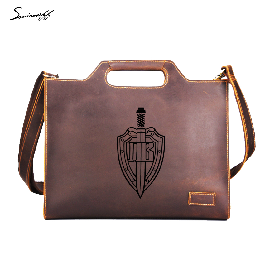 Russia Border Guard Shield and Sword Men Handbags Briefcase Genuine Leather Laptop Bags Custom Name Hangbags Male Messenger Bag