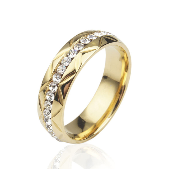 Vintage Jewelry Commitment Of Love Wedding Rings Stainless Steel Gold Inlay Crystal Brand Simple Ring For