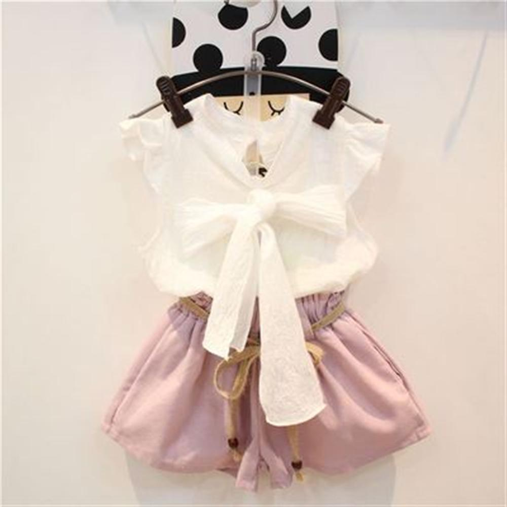 Fashion Girls Clothes 2018 New Summer Style Toddler Children Clothing Set Bow Shirts Shorts Kids Suits for 2 3 4 5 6 7 Year Girl new fashion girls clothing kids clothes summer style sleeveless tops pants 2 pcs casual children suit 3 4 5 6 7 years