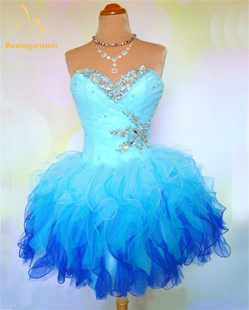 2018 Ny På lager Sweetheart Organza Billige hjemkomstkjoler 2018 Beaded Crystals Cocktail Graduation Prom Party Kjoler QA1219