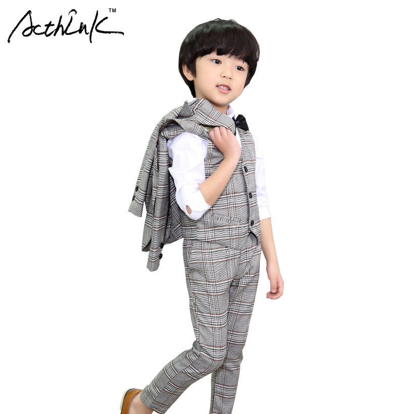 ActhInK New Boys 3Pcs Formal Plaid Wedding Suit Kids England Style Blazer+Pant+Waistcoat Suit for Boys Kids Party Costume, AC045 tartan plaid raw edge blazer