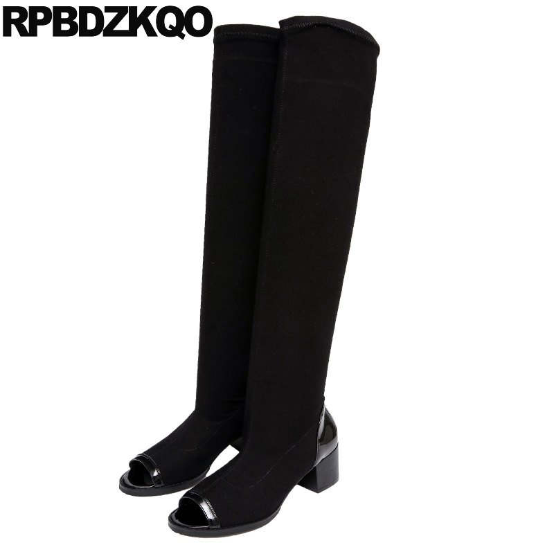 Stretch Casual Slip On Long Over The Knee Boots Chunky Black 2017 Shoes Peep Toe Summer Chinese Women Slim High Heel Female black long chunky round toe boots luxury brand shoes women high heel slip on over the knee sexy stretch slim real leather fall