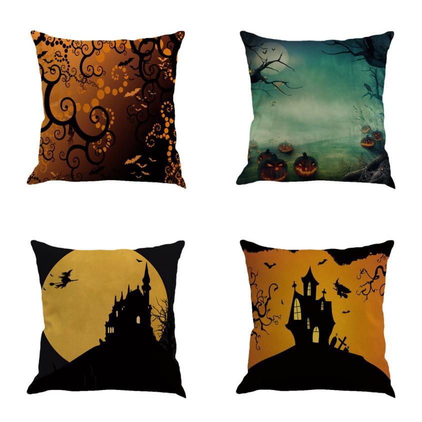 New Pillowcase Halloween Cushion Cover Cotton Linen Size 45*45 Printed Throw Pillows Decorative Cojines Housse De Coussin #