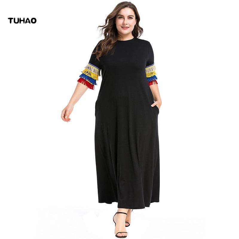 7c84c2ba22c TUHAO 2019 летнее платье повседневное женское свободное платье 7XL ...