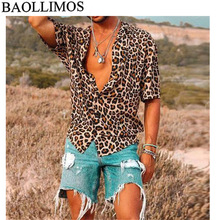 Мужские рубашки с короткими рукавами и леопардовым принтом, мужские свободные сексуальные летние повседневные блузы с отложным воротником, топы, большие размеры, S-3XL, мужская рубашка