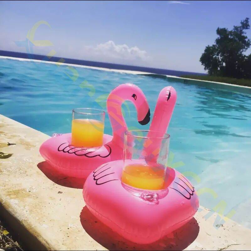 50pcs Pink Flamingo Inflatable Drink Holders Floating Toy Pool Party Bath drinking cup Seat Boat Cell Phone Holder Stand Pool