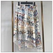 A0029модная Асимметричная юбка с принтом романтическая повседневная юбка