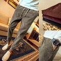 Chegada nova moda boca fechada dos pés calças dos homens de veludo cintura elástica calças casuais pantalon homme 5-cores tamanho m-5xl XXK7